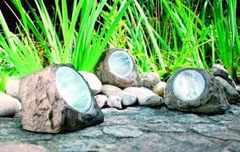 светодиодные фонари в камнях