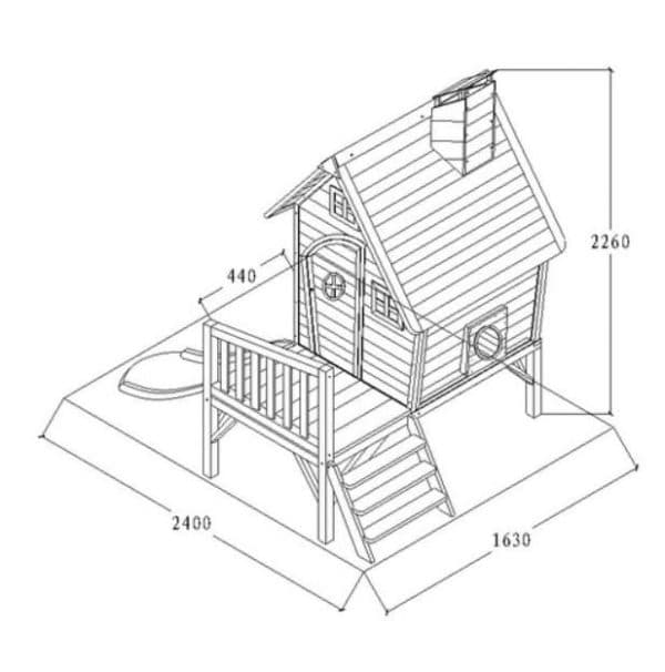 Чертеж двухъярусного домика