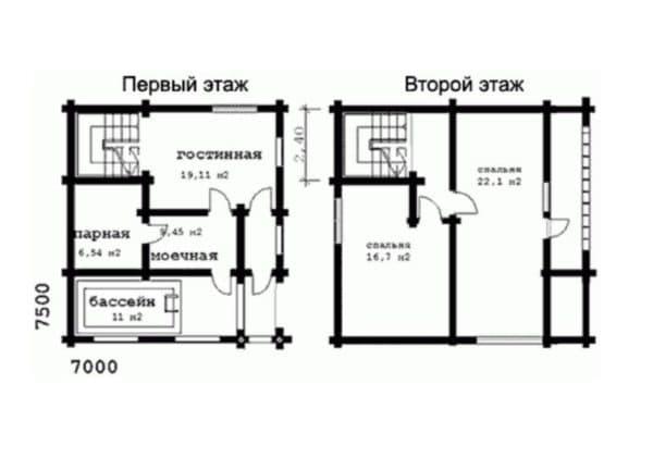 Баня (2 этажа) с бассйеном