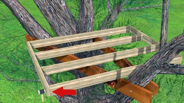 Установка опоры на дереве