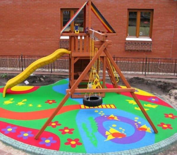 резиновое покрытие для дорожек для детских площадок