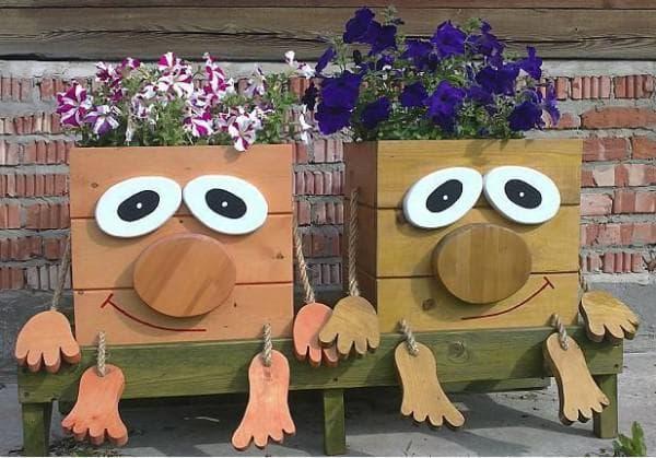 деревянные кашпо для уличных цветов