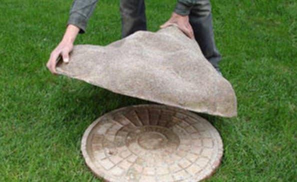 декоративная крышка на колодец из бетона
