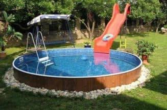 каркасный бассейн с горками для детей
