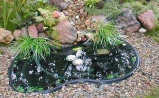 пруд пластиковый садовый с пластиковыми уточками