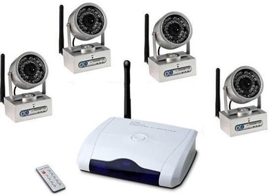 фото комплект видеонаблюдения на 4 камеры по способу передачи сигнала