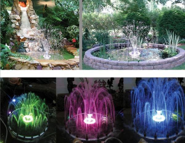 фонтанные насосы для пруда с подсветкой разных цветов
