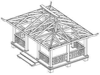 чертеж деревянной беседки