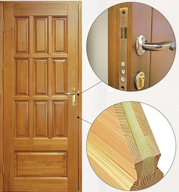 деревянные входные двери из сосны