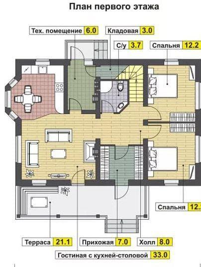 дом с мансардой из газобетона на 109 м-2