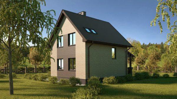 двухэтажный дом с мансардой 85 м2