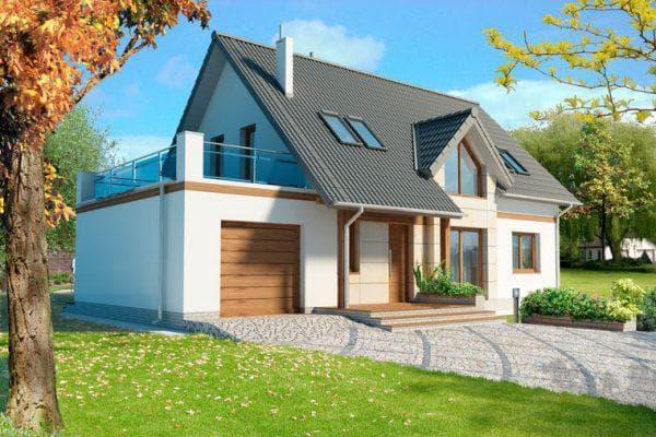 двухэтажный дом с мансардой 93 м2