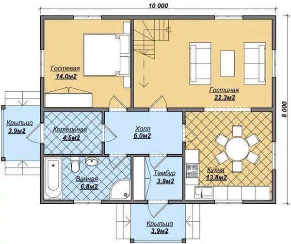 одноэтажный дом 8х10 с отличной планировкой