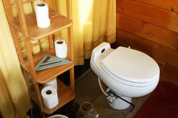 туалет на даче с унитазом Фарфор