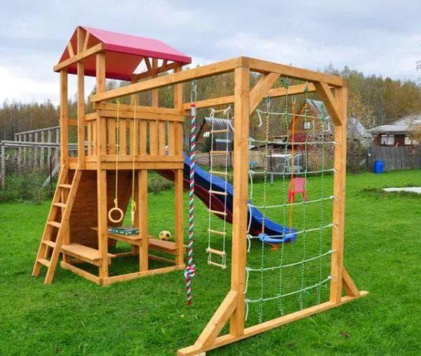 деревянный уличный детский спортивный комплекс для дачи