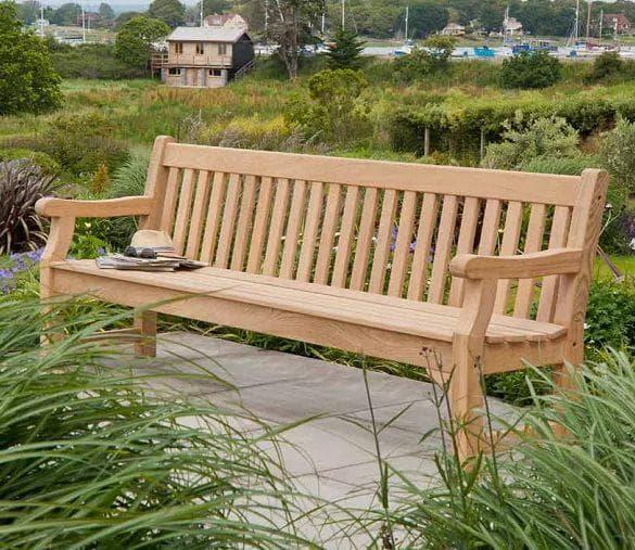 стационарная скамейка для дачи из дерева
