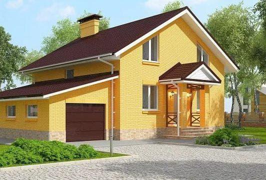 кирпичный дом с мансардой и гаражом