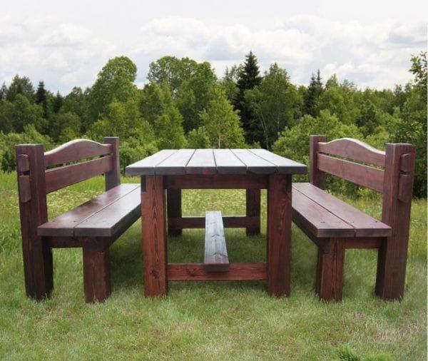 обеденная скамейка для дачи из дерева