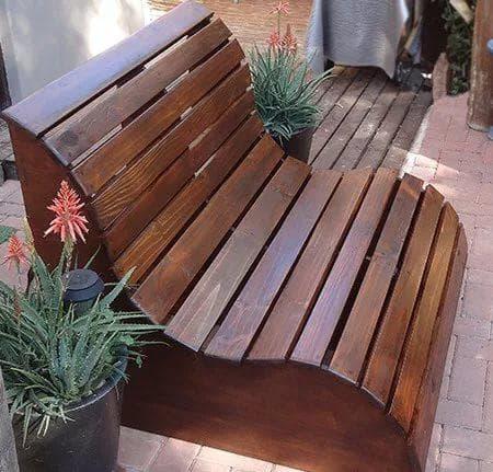 релаксационная скамейка для дачи из дерева