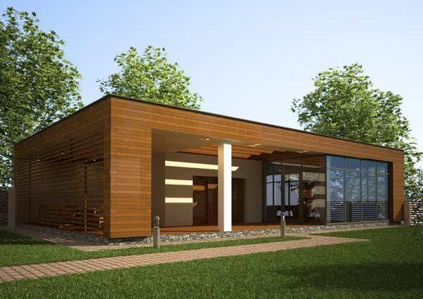 деревянный дом с плоской крышей 56 м2