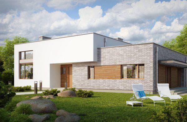 кирпичный дом с плоской крышей 125 м2