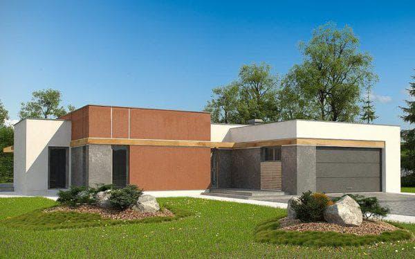 кирпичный дом с плоской крышей 132 м2 с гаражом