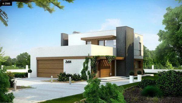 дом из пеноблоков с плоской крышей 181 м2 с гаражом