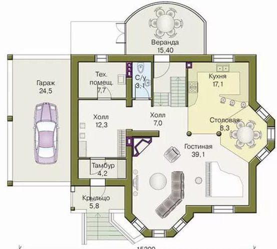 одноэтажный дом из кирпича 137 м2 с эркером и крыльцом