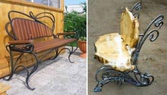 скамейки из дерева и металла