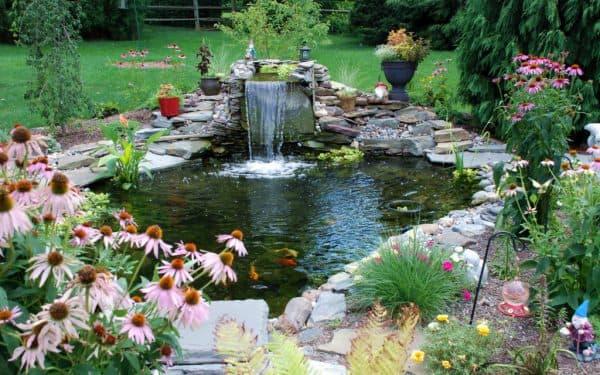 ландшафтный дизайн пруда с фонтаном