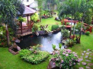 дизайн маленького пруда в саду