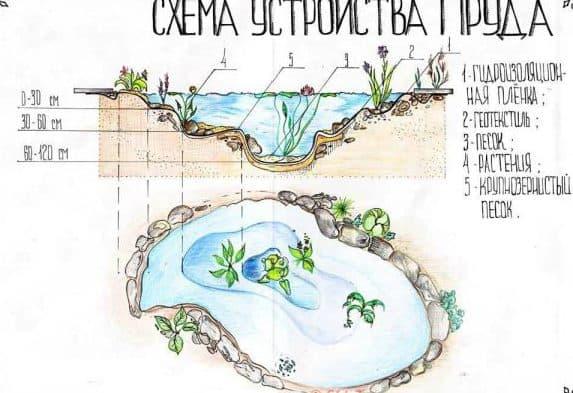 нарисовать план искуственного водоёма