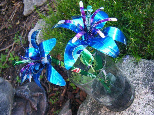 цветы из пивных бутылок