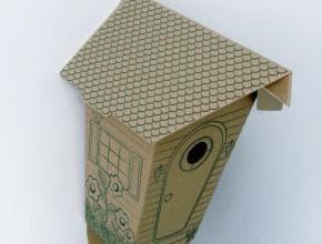 домик для птиц из коробки