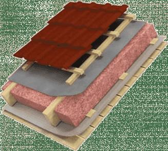 схематический рисунок мансардной крыши с утеплителем