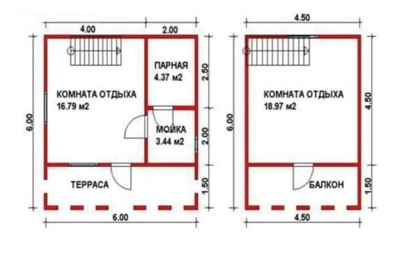 Проект двухэтажной постройки (бани)