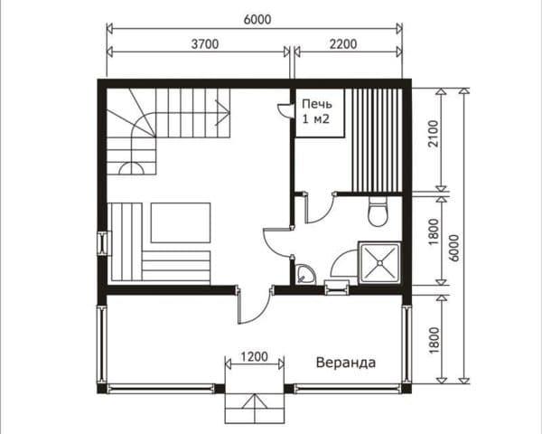 Пример планировки квадратного строения