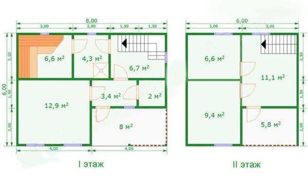 Вариант расположения комнат в бане 6 на 8