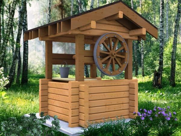 домик из бруса для колодца