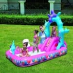 детский надувной бассейн с горкой для дачи