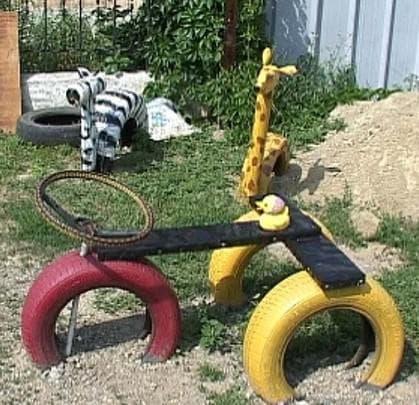 поделки из шин для детской площадки мотоцикл