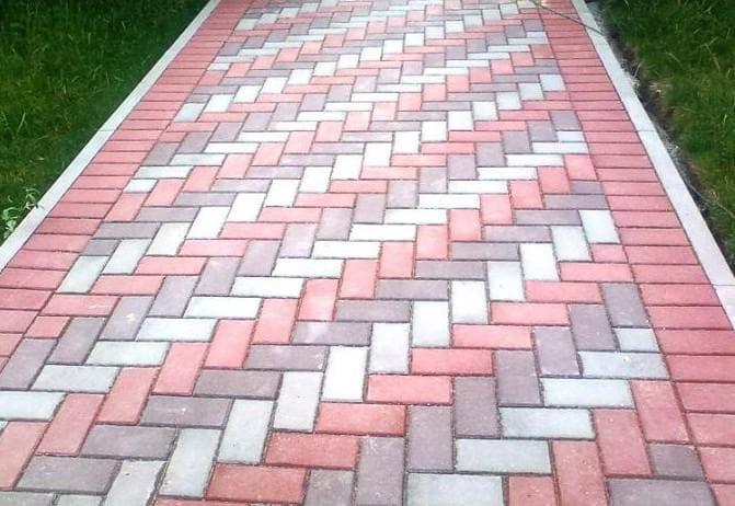 схема укладки тротуарной плитки ёлочкой