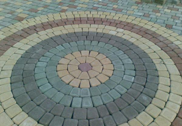 схема укладки тротуарной плитки по кругу
