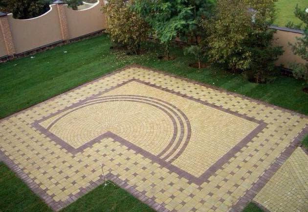 схема укладки тротуарной плитки в стиле ретро