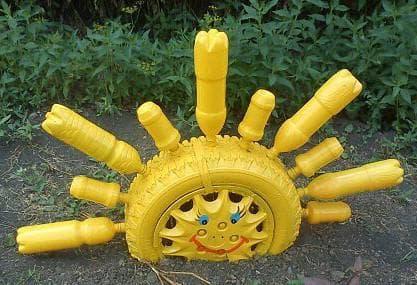 поделки из шин для детской площадки солнышко