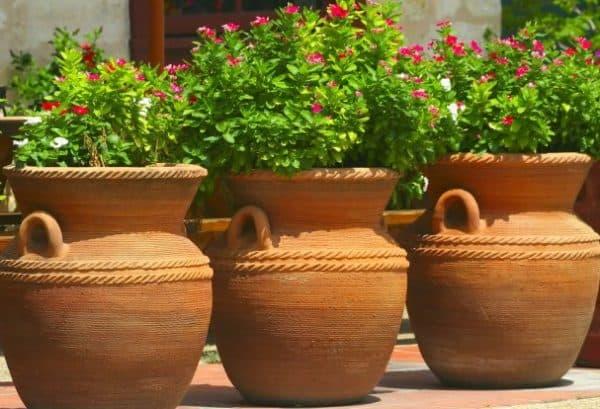 керамические кашпо для уличных цветов