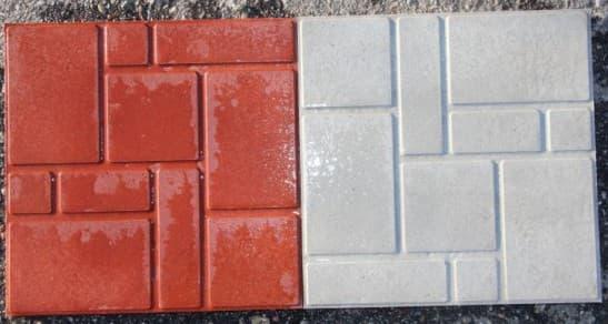 полимерно песчаная тротуарная плитка красного и белого цвета