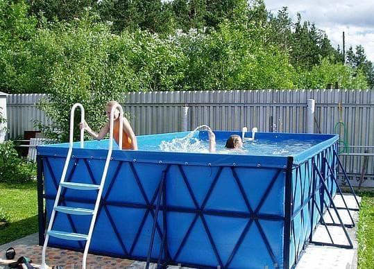 пластиковые монолитные бассейн для дачи Каркасный с ПВХ-чашей