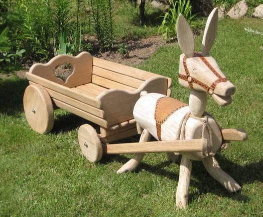 декоративная телега для сада карета и ослик