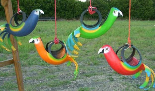 поделки из покрышек для сада животные и птицы